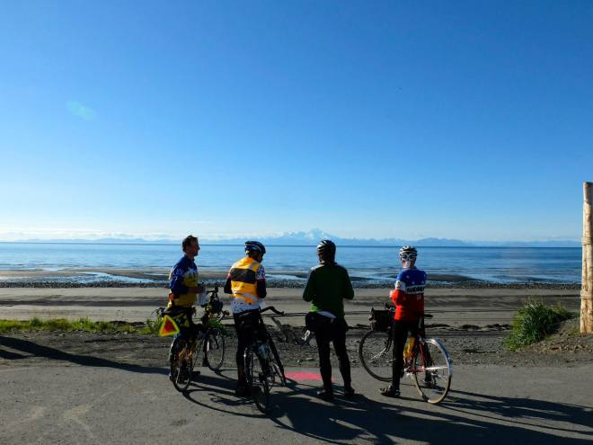 Final Brevet of the Alaska season.  Anchor Point, near Homer, Alaska.  With fellow randonneurs Martin Renner, Mark Stevens, and Narcisso Espinosa