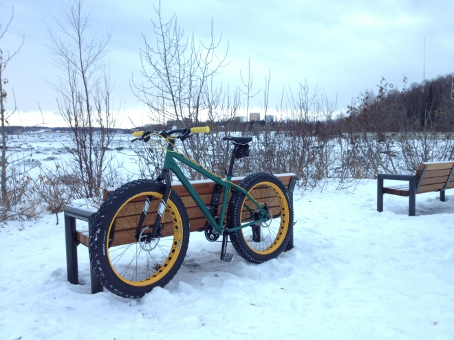 Maiden ride on the fatbike. Coastal Trail, Anchorage