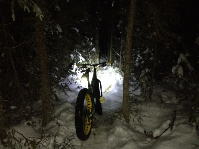 Night fatbiking! First ride using new lights. Great fun. Far North Bicentennial Park.